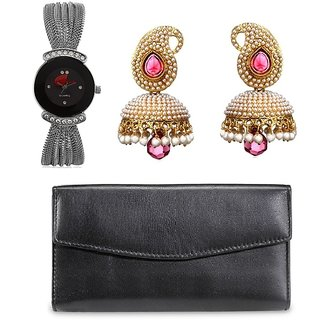 ANJC-007Arum combo of Silve Black Watch with Black wallet and Pink Pearl jhumki