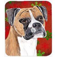 Carolines Treasures Mouse/Hot Pad/Trivet, Boxer Red & Green Snowflakes Holiday Christmas (SC9430MP)