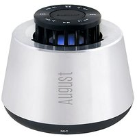 August Ms450 Portable Bluetooth Speaker With Microphone Brushed Metal Rechargeable Wireless Sound System And...