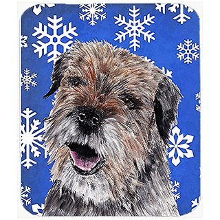 Carolines Treasures Border Terrier Blue Snowflake Winter Mouse Pad/Hot Pad/Trivet (SC9599MP)