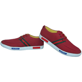 Buy Red Colour Men's Canvas Shoes From