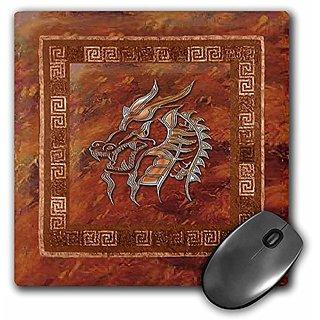 3dRose LLC 8 x 8 x 0.25 Inches Mouse Pad, Gold Dragon on Orange (mp_40295_1)