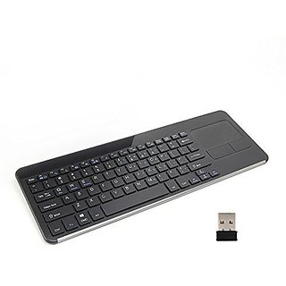 GMYLE 2.4G Wireless Keyboard with Built-In Multi-Touch Touchpad for PC - Black