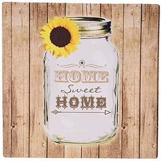 3dRose LLC 8 x 8 x 0.25 Inches Mouse Pad, Country Rustic Mason Jar with Sunflower Home Sweet Home (mp_128555_1)