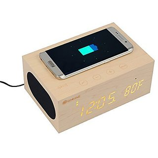 Bluetooth Speaker, Eachine Wood Stereo Audio Speaker Amplifier Wireless Charger Clock Kit, Built-in Microphone, Alarm Cl