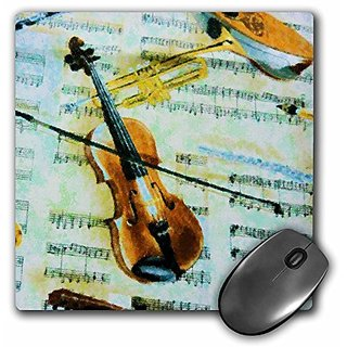 3dRose LLC 8 X 8 X 0.25 Inches Violin Impressions Mouse Pad (mp_26572_1)