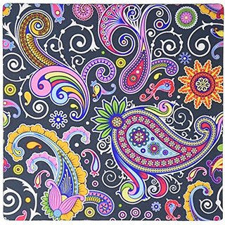 3dRose LLC 8 x 8 x 0.25 Inches Mouse Pad, Multi Color Paisley on Gray Background (mp_56166_1)