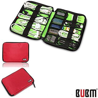 BUBM Fashion Cable Organizer Bag Travel Case Digital Storage Bag with Zipper/ Healthcare & Grooming Kit (Dis Red-small)