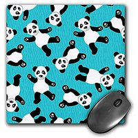 3dRose LLC 8 X 8 X 0.25 Inches Mouse Pad, Cute Happy CartoOn Panda Print On Blue Fur Print Background (mp_40921_1)