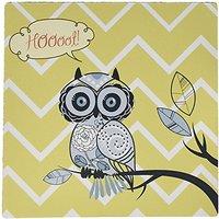 3dRose LLC 8 X 8 X 0.25 Inches Mouse Pad, Hoot Im Cute Whimsical Owl With Chevron Print (mp_110482_1)