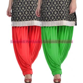 SangeeS Superior Quality Viscose Lycra Pattiyala 2 Pack Combo With   Red - Green