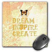 3dRose LLC 8 X 8 X 0.25 Inches Mouse Pad, Yellow Tie Dye Dream Inspire Create Butterfly Law Of Attraction (mp_30471_1)