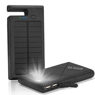 Solar Charger, Solar Power Bank 10000mAh with Phone Dock & Flashlight Function ; Shockproof Rain-proof Dual USB Solar Pa
