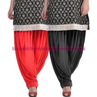 SangeeS Superior Quality Viscose Lycra Pattiyala 2 Pack Combo With   Red - black