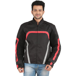 Cascara Full Sleeve solid Black with Red Men's Biker Jackets