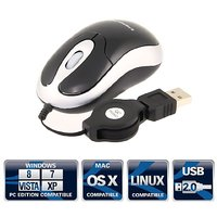 Sabrent Mini High Precision 3-Button USB Optical Scroll Wheel Mouse With Retractable Cable (MS-U3266)