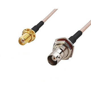 RF coaxial coax cable assembly SMA female to BNC female bulkhead 6