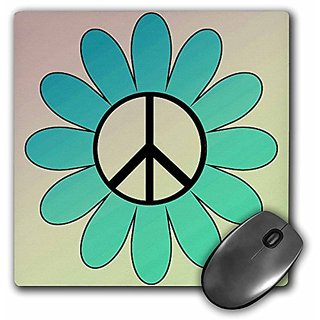 3dRose LLC 8 x 8 x 0.25 Aqua Flower with Peace Sign inspirational Art Mouse Pad (mp_79231_1)
