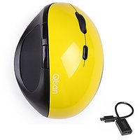 Qisan USB Wireless Ergonomic Vertical Mouse(E100)Come With Free Android Micro USB 2.0 Data OTG Cable-Yellow