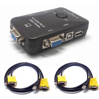Sienoc USB 2.0 KVM 2 PORT VGA Keyboard Mouse Switch Box with 2 Pecs KVM Cable Color Black