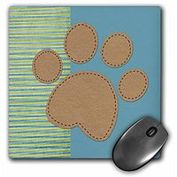 3dRose LLC 8 X 8 X 0.25 Inches Stripes And Solids Paw Print, Fun Animal Art Mouse Pad (mp_56209_1)