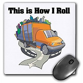 3dRose LLC 8 x 8 x 0.25 Inches Mouse Pad, This Is How I Roll Garbage Truck (mp_102577_1)