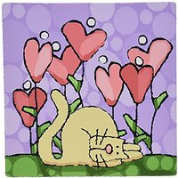 3dRose LLC 8 X 8 X 0.25 Inches Mouse Pad, Whimsical Heart Flower Garden With Cat On Purple Background (mp_37499_1)