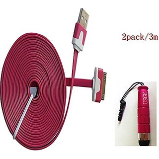 UIHY High Quality 2pcs 10ft(3m) Colorful 30pin USB Data Sync and Charge Cable Compatible with Iphone 4/4s, Iphone 3g/3gs