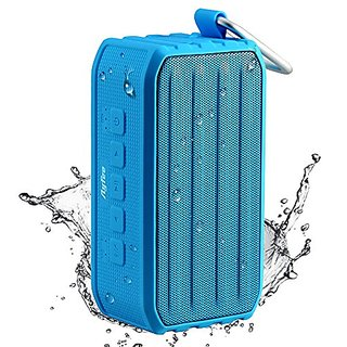 Ayfee Portable Bluetooth 4.0 Waterproof Speaker with 7W Drives and Passive Bass Radiator (Light Blue)