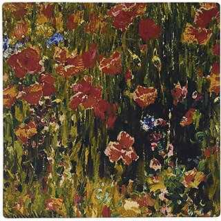 3Drose LLC 8 X 8 X 0.25 Inches Mouse Pad, Poppies by Robert Vonnoh Impressionist Flower Garden (Mp_126528_1)