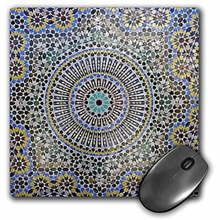 3dRose LLC 8 x 8 x 0.25 Inches Mouse Pad Mosaic Wall for Fountain, Fes, Morocco, Africa Kymri Wilt (mp_132003_1)