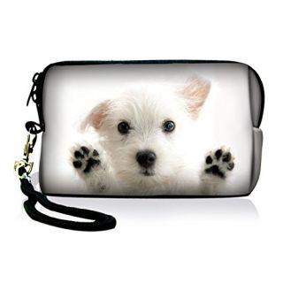 New Arrival Nice White Dog Design Digital Camera Soft Case Pouch w/Strap For Nikon Coolpix S6000 S1000pj S70 L610,Mobile