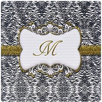 3dRose Elegant Back And White Animal Print With Gold Frame Monogram Letter M Mouse Pad (mp_113947_1)