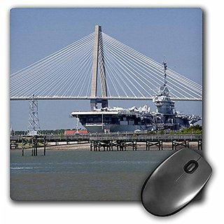 3dRose LLC 8 x 8 x 0.25 Inches Mouse Pad, SC, Ravenel Bridge Yorktown Aircraft Carrier, Cindy Miller Hopkins (mp_94258_1