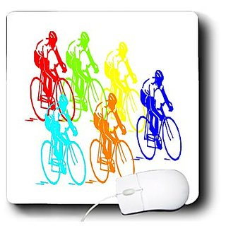 3dRose LLC 8 x 8 x 0.25 Inches Mouse Pad, Multi Color Bicycle Race (mp_109036_1)