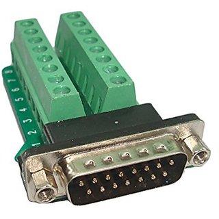 Swellder Connector Db15 D-sub Male Plug 15-pin Port 2 Row Terminal Breakout PCB Board