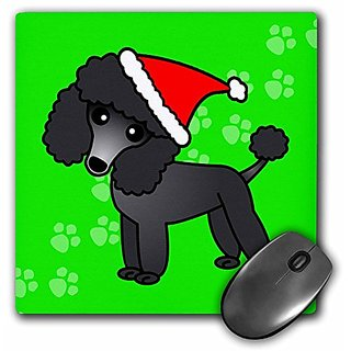 3dRose LLC 8 x 8 x 0.25 Inches Mouse Pad, Cute Black Poodle Green Paw Background with Santa Hat (mp_13766_1)