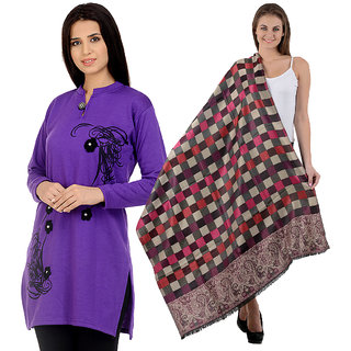Christy's Collection Multicolor Plain Woollen Kurti with Shawl (Pack of 2)