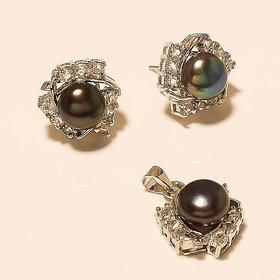 Details about  PEARL GEMSTONE 925 STERLING SILVER PENDANT WITH EARRING