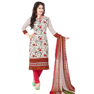 Synthetic Printed Dress Material With Dupatta