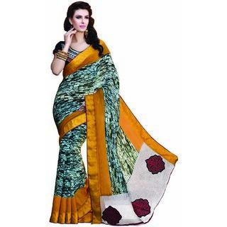 RG Multicolor Aariwork Art Silk Saree