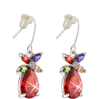 Jazz Jewellery Rhodium Plated Floral Drops Multicolour Cubic Zirconium Dangle Earrings for Women and Girls