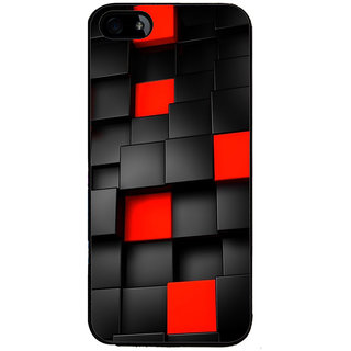 Ayaashii Black And Red Square Abstract Back Case Cover for Apple iPhone 5::Apple iPhone 5S