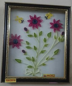 Handmade Classical Quilling Paper Art With Wooden Frame