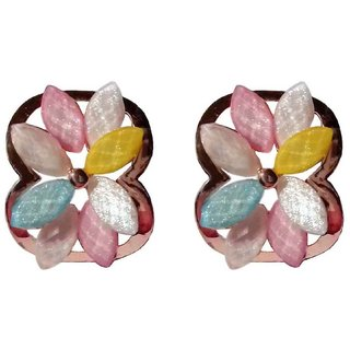 Shining Multicolour Floral Design Stud Earrings - 866.1