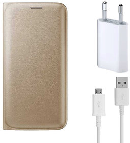 Snaptic Limited Edition Golden Leather Flip Cover for Lenovo A6000 with USB Travel Charger