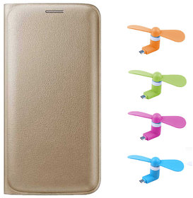 Snaptic Limited Edition Golden Leather Flip Cover for Lenovo A6000 with OTG Mobile Fan