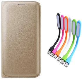 Snaptic Limited Edition Golden Leather Flip Cover for Lenovo A6000 with USB LED Lamp