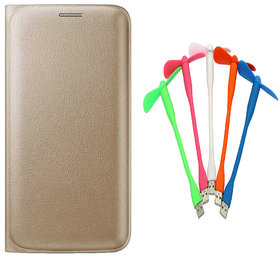 Snaptic Limited Edition Golden Leather Flip Cover for Lenovo A6000 with USB Fan
