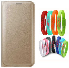 Snaptic Limited Edition Golden Leather Flip Cover for Lenovo A6000 with Waterproof LED Watch